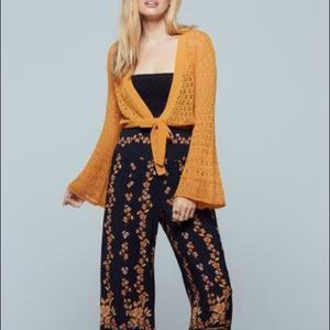 BOG NEW DELHI GOLD BELL SLEEVE CROP SWEATER